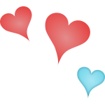 Vector graphics of 3 different colored hearts