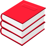 Vector image of  three red books