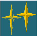 Vector drawing of 4 point beveled star