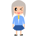 Cartoon girl with grey hair vector drawing