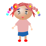 Kid with colorful pigtails