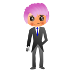 Suited dude with violet hair
