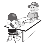 Vector illustration of kids drawing