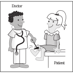 Vector cartoon clip art of doctor and patient