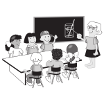 Kids in classroom vector illustration