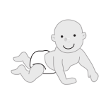 Crawling baby leaning on hands vector image