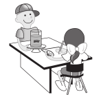 Kids experimenting at table vector illustration