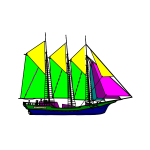 Colorful sailing ship vector drawing