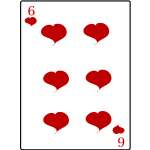 Six of hearts playing card