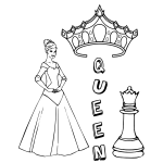 Queen and chess piece