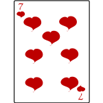 Seven of hearts playing card vector graphics