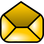 Vector drawing of shiny yellow opened mail web icon