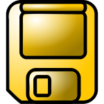Gold colored floppy disc vector graphics