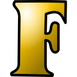 Vector clip art of large yellow letter F