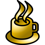 Vector illustration of shiny brown coffee shop icon