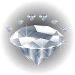 Diamond stone surrounded by diamonds vector drawing