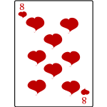 Eight of hearts playing card vector illustration