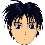 Vector illustration of anime boy with black hair