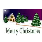 Christmas card with winter scene vector drawing