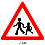 Pedestrians crossing the road traffic warning sign vector graphics