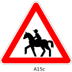 Horse rider on road traffic sign vector image