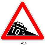 Vector drawing of dangerous descent triangular road sign