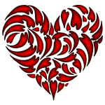 Abstract Distorted Heart Fractal Crimson