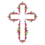 Abstract flowers on a cross