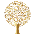 Abstract Icons Tree Gold