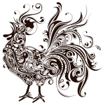 Abstract Rooster Silhouette