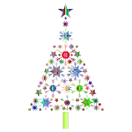 Abstract Snowflake Christmas Tree By Karen Arnold Prismatic 2 No Background