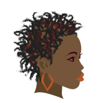 Girl with twist braids hairstyle vector drawing
