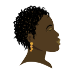 African girl with closed eyes profile vector drawing