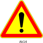 Vector drawing of danger ahead triangular temporary road sign