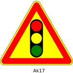 Vector graphics of traffic lights ahead triangular temporary road sign