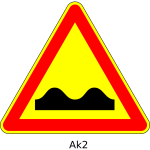 Vector image of bumpy road triangular temporary road sign