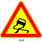 Vector image of slippery road triangular temporary road sign