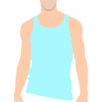 Vector clip art of top of male body with a vest on