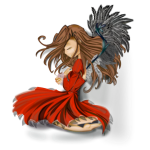Graphics of girl with red feathered dress