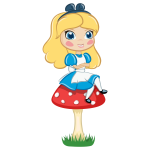 Alice on a mushroom vector image