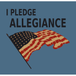 Pledge allegiance with US flag