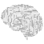 Alzheimers Brain Word Cloud Grayscale