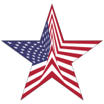 America Flag Star With Stroke