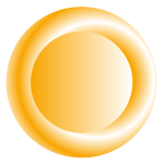 3D orange circular button