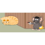 Vector image of mouse with a gun