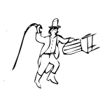 Animal tamer in black and white clip art