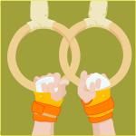 Vector drawing of gymnast's hands holding gymnastic rings