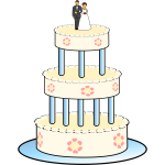 Drawing of three level wedding cake