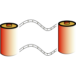 Vector clip art of orange photo film roll