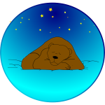 Brown bear sleeping under stars vector clip art